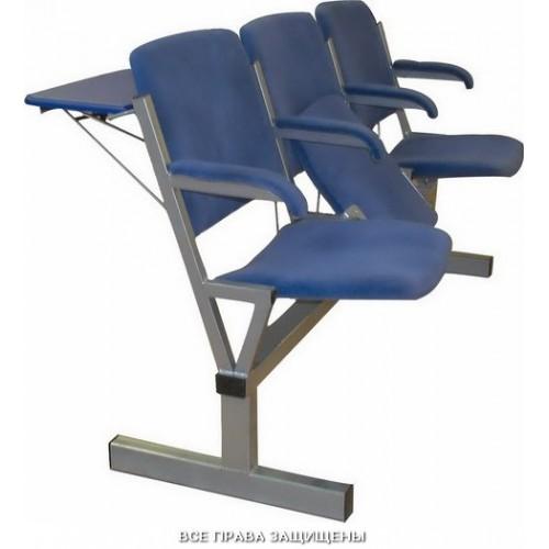 Секция стульев мягкая с откидными сиденьями и задними столиками м116-033/34