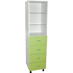 Шкаф медицинский М 202-022 с ящиками +  2 открытые полки стекло