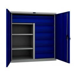 Шкаф-тумба металлический с выдвижными ящиками и полками ПК-0215
