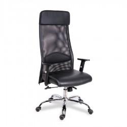 Кресло офисное МГ-18 хром с подголовником, регулируемыми подлокотниками