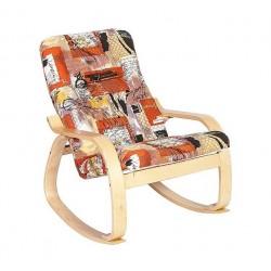 Кресло-качалка для отдыха деревянное с мягкой обивкой  Сайма