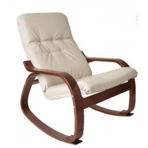 Кресло-качалка кожаное на деревянном каркасе Сайма с пуфом