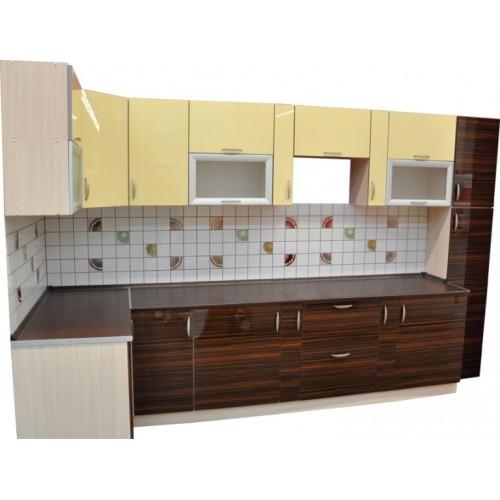 Готовая кухня Акрил-ваниль-Каштан