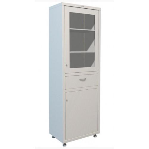 Медицинский шкаф металлический одностворчатый МЕШ1-1760-Р1 с выдвижным ящиком