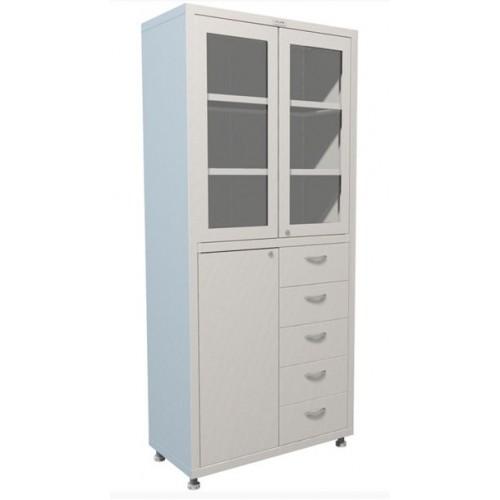 Шкаф аптечный металлический МЕШ2-1780Р5 дверки стекло, 5 ящиков