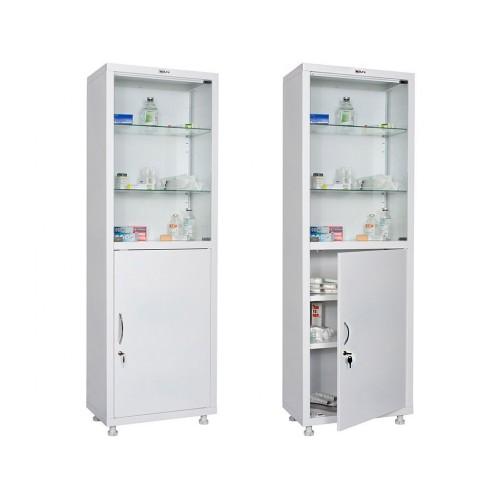 Шкаф для кабинета врача металлический МЕШ-1760С со стеклом