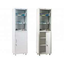 Шкаф металлический для хранения лекарств МЕШ1-1650С дверки стекло