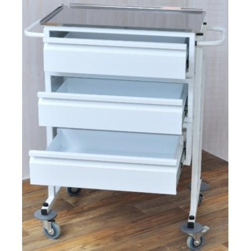 Столик для процедурной медсестры С-СМ3 подкатной с 3 ящиками