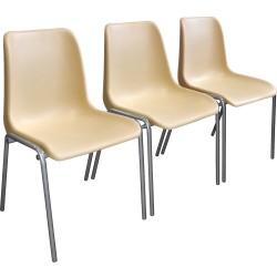 Секция из трех медицинских стульев М22 с пластиковыми сидениями