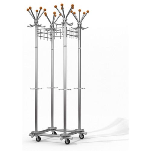 Вешалка для верхней одежды на колесах G4-D-K хромированная